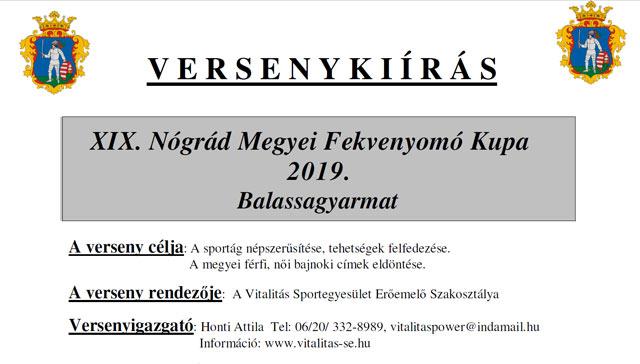 XIX. Nógrád Megyei Fekvenyomó Kupa -  2019. október 20. Balassagyarmat